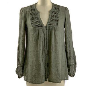 Knox Rose Boho Top Front Button Blouse Green XS